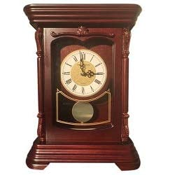 Vmarketingsite Mantel Pendulum Solid Wood Table Battery Operated. Quiet, Shelf Clock Westminster Chimes on The Hour, 9.9 x 12.6 x 4.4, (Mahogany - Roman Numerals, Wood)
