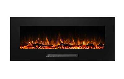 "Masarflame Jenrick 50"" Wall Mounted Electric Fireplace,Backlight,Log Set & Crystal,1500W Heater,Black"