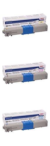 - OKI 46508701, 46508702, 46508703 Cyan/Magenta/Yellow Toner Cartridge Set for C332, MC363 Printers