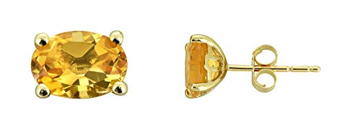 (YoTreasure 1.60 Ct. Oval Citrine Solid 10K Yellow Gold Stud)