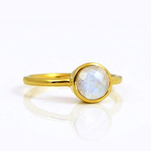 Rainbow Moonstone ring, stackable ring, Vermeil Gold or silver, bezel set ring, round ring, June Birthstone ring, birthday gift, bridal jewelry
