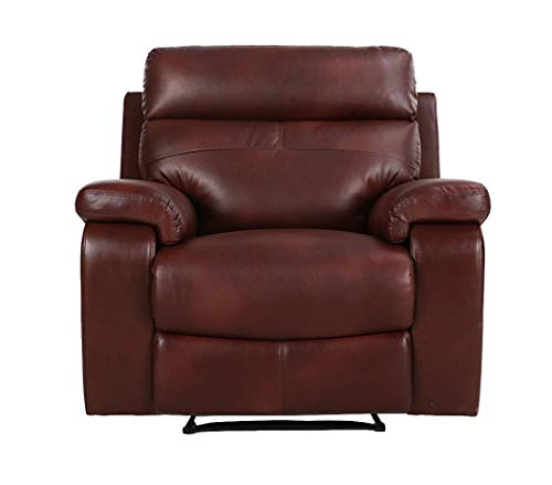 Halter Bonded Leather Recliner Sofa Chair - Modern Reclining Lounge Chair - Cherry - 2 ()