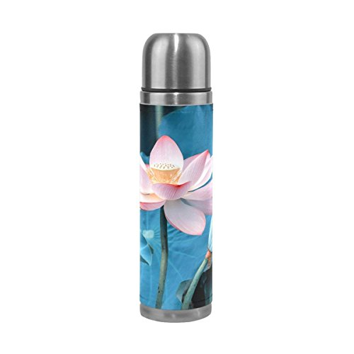 OuLian Pink Lotus Double Wall Water Bottle Stainless Steel Thermos Flask Genuine Leather Wrapped Cover Leak Proof for Hot and Cold Drinking 17 Oz ()