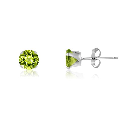 Round 4mm Sterling Silver Genuine Peridot Stud Earrings, Free Gift Box included