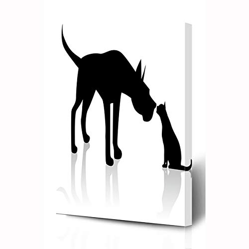 - Ahawoso Canvas Prints Wall Art 8x10 Inches Sitting Great Dane Meets Cat Wildlife Dog Sniffing Black Hound Pointing Wooden Frame Printing Home Living Room Office Bedroom