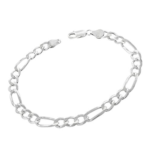 - Authentic Solid Sterling Silver Figaro Link .925 ITProLux Necklace or Bracelet Chains 3MM 4MM 5MM 6MM 7MM 7.5MM 8.5MM 10.5MM, 16