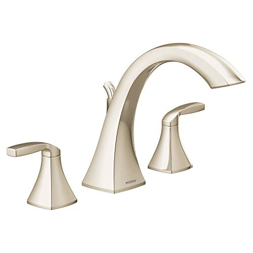 (Moen T693NL Voss Collection 2-Handle Deck Mount Roman Tub Faucet Trim Kit without Valve, Polished Nickel)