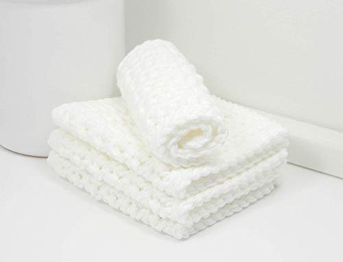 Set of 4 Handmade White 4 inch x 7 inch Rectangular Crochet Cotton Dishcloths ()