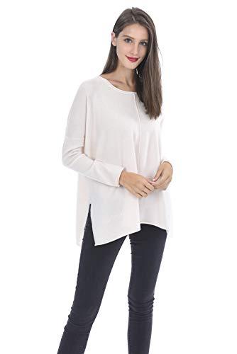State Cashmere Women's 100% Pure Cashmere Round-Neck Back Oversize Pullover Sweater (One Size, WinterWhite)