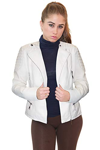 (Olivia Miller Womens Faux Leather Zip up Moto Biker JK5207SX White 1X)