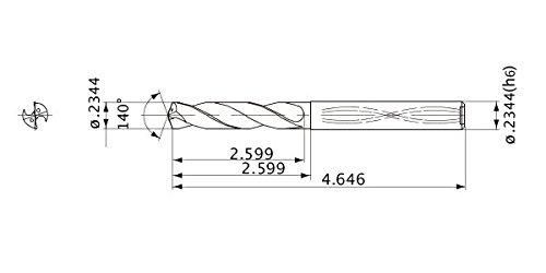 8 Hole Depth 5.954 mm Cutting Dia 5.954 mm Shank Dia. Mitsubishi Materials MWS02344X8DB Series MWS Solid Carbide Drill 1.1 mm Point Length Internal Coolant