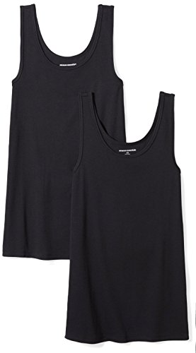 Amazon Essentials Women's 2-Pack Slim-Fit Tank, Black, Medium (Cami Pajama Top Women)