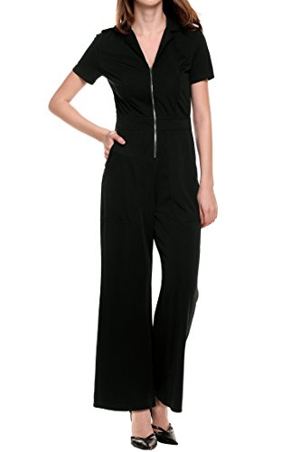 Meaneor Women's V Neck Zip Front Playsuit Wide Leg Jumpsuit With Pocket Black XL