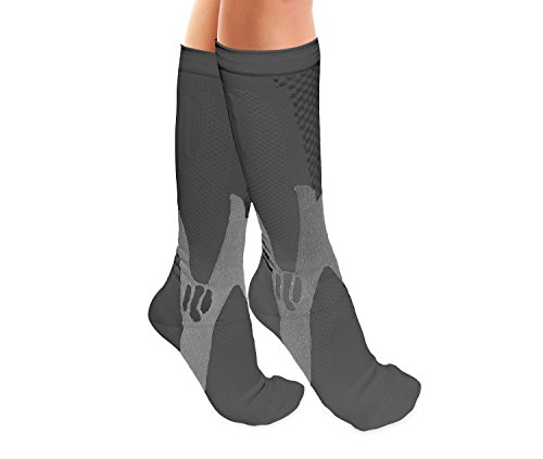 Grey Knee High Compression Socks for Men and Women - 2 pairs By One & Only USA