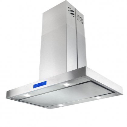 """Price comparison product image AKDY AIR27PS236 36"""" Island Mount Ducted Range Hood with 870 CFM Motor 3 Speed Fan Levels Ultra Quiet Operation Touch Control Panel LED Lighting and Dishwasher Safe Filters in Stainless"""