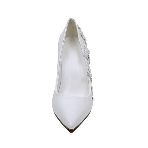 Tacón Individuales Cm Cerrada Rhinestone Mujeres Delgado Encaje Tacón Novia Bombas Punta Moda Apuntado De Vestido Altura Tacones Del Zapatos 12 White Boda Novia Brillante PPqRf