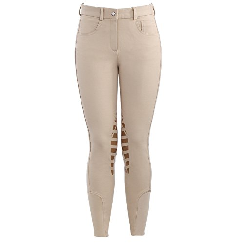 (HR Farm Horse Riding Women's Knee Patched Silicone Grip Breeches (Beige, 26))