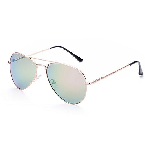 Naivo Women's Thin Metal Round Aviator Metallic Opal Sunglasses, - Sunglases Cheap