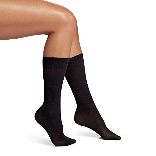No Nonsense Women's Wide Rib Texture Trouser Sock, Black, One Size, 4-10