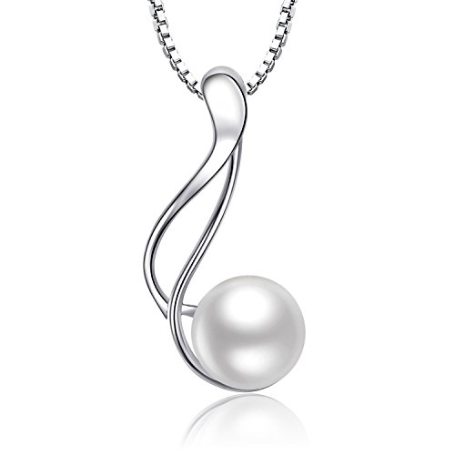 Freshwater Pearl Twist Pendant Necklace Jewelry 925 Sterling Silver Gift For Women Gold Twist Pendant