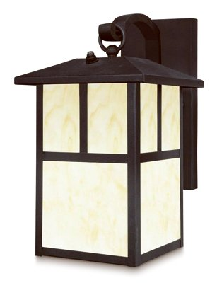 Westinghouse 6482900 Nova Scotia One-Light Outdoor Wall Lantern with Dusk to Dawn Sensor, Textured Black Finish with Honey Art Glass - Pack of 2
