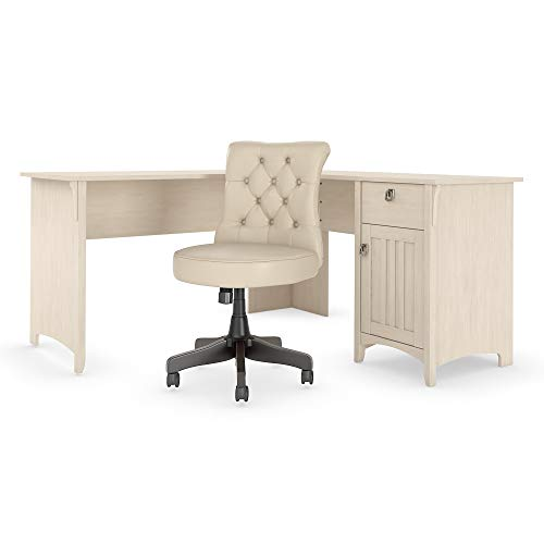 Bush Furniture Salinas 60W L Shaped Desk with Mid Back Tufted Office Chair in Antique White