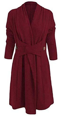 A Donna Cappotto Wine Da Red Outwear Accogliente E Maniche LungheLeggero Tupath 34q5LRjA