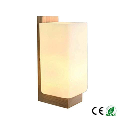 Sconce Wood Standard (JASB Wall Lamp,Rubber Wood + Glass Modern Simple Industry Loft Anti - Rust Rectangular Wall Light 90-240 Volt Voltage)