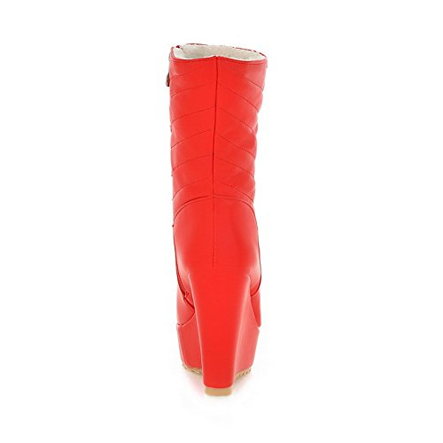 Soft Closed Round Allhqfashion Heels Zipper Women's Boots Material High Solid Toe Red XqxZF0