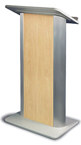 Full Floor Lectern with Maple-colored Front Panel, 26.75'' wide, Aluminum & MDF (Silver) by Displays2go