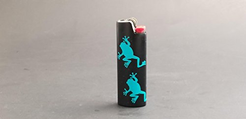 Frog Climbing BIC Lighter Cover Metal Blank Vinyl Design - CUSTOM MADE by Custom Cuts and Creations LLC