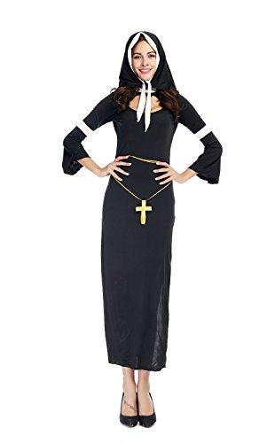 [Halloween Nun Costume for Women Catholic Clothing] (Bad Habit Nun Costumes)