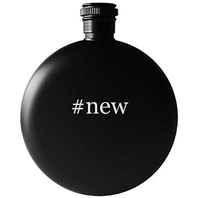 #new - 5oz Round Hashtag Drinking Alcohol Flask, Matte Black