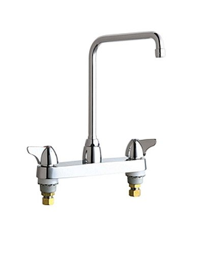Chicago Faucets 1100-HA8CP 8-Inch Centerset High Rise Swing Spout Kitchen Faucet, Chrome (10