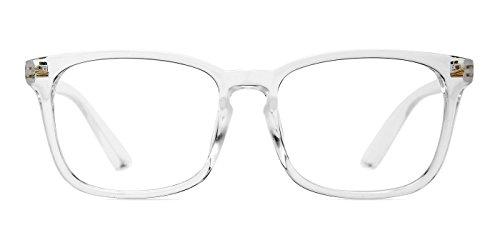 [TIJN Chic Transparent Clear Frame Wayfarer Glass Rx-able Eyeglasses for Men Women] (Geek Chic Glasses)