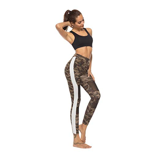 Forthery Womens Camouflage Print Yoga Pants Stretchy Skinny Sheer Mesh Camouflage Leggings Sports Trousers(Green,L=US 8)