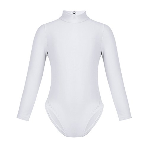 iiniim Girls Team Basic Stretch Lycra Long Sleeve Leotard Turtle Neck Gymnastics Ballet Dance Outfit White 7-8 - Youth White Mock Turtleneck