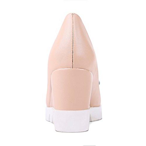 Balamasa Flickor Spunnet Guld Bowknot Färgmatchning Tjocka Botten Häl Imiterade Läder Pumpar-skor Rosa