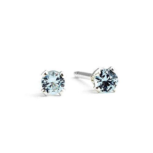 3mm Tiny Aqua Baby Blue Aquamarine Gemstone Stud Earrings in Sterling Silver - March (Aqua Blue Gem)