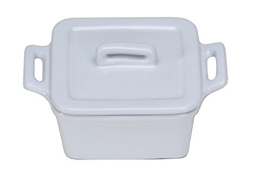 Square Covered Stoneware Baker (Omniware 1172004 Square Mini Bakers with Lids, Set of 4, White)