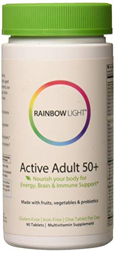 Rainbow Light - Active Adult 50+ Multivitamin with CoQ10 - Food-Based Supplement Provides Antioxidant Protection and Probiotics, Supports Energy, Nutrition, and Stress Management - 90 Tablets