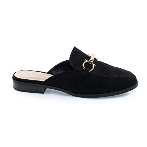 Open Back Slip On Horsebit Mules Flat, Low Cuban Heel w Metal Ornament Black
