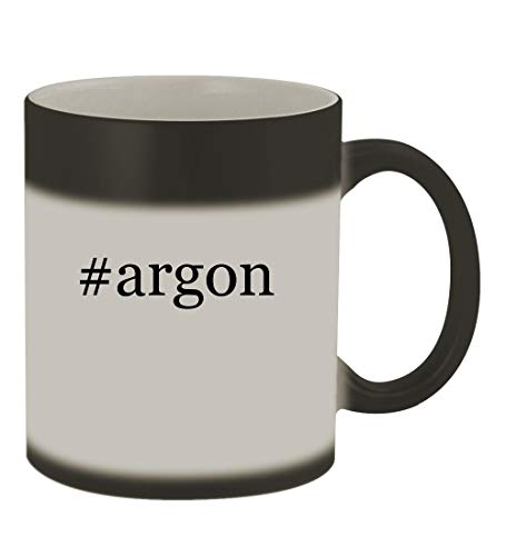 #argon - 11oz Color Changing Hashtag Sturdy Ceramic Coffee Cup Mug, Matte Black