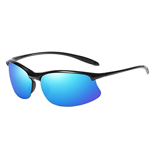 Polarized Sport Sunglasses Curved Wrap TR90 Semi Rimless Frame UV400 Protection (Black/Blue - Sunglasses Mens Wrap