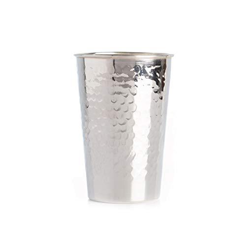 Sterling silver Kiddush cup Hammered wine goblet grand traditional Judaica Shabbat Havdala set
