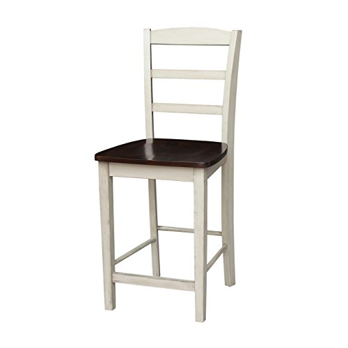 International Concepts S12-402 Madrid Stool Barstool, Antiqued Almond/Espresso
