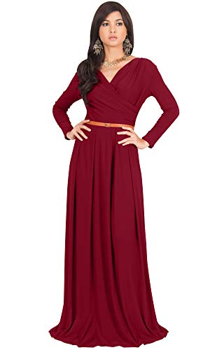 KOH KOH Plus Size Womens Long V-Neck Sleeve Sleeves Fall Formal Flowy Floor Length Evening Casual Day Modest Abaya Muslim Gown Gowns Maxi Dress Dresses, Crimson Dark Red 2XL 18-20 ()