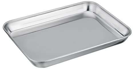 TEAMFAR Mini-Backblech, Edelstahl Klein Backform Ofenblech, Rechteckiges Mini-Ofenschale zum Backen Kochen Servieren, 23 x 18 x 2,5 cm, Gesund & Langlebig, Hochglanzpoliert & Spülmaschinengeeignet