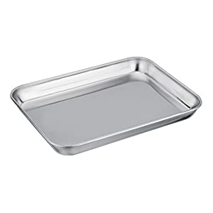"TeamFar Pure Stainless Steel Toaster Oven Pan Tray Ovenware, 7""x9""x1"", Heavy Duty & Healthy, Mirror Finish & Easy clean, Deep Edge, Dishwasher Safe (18/0 Steel)"