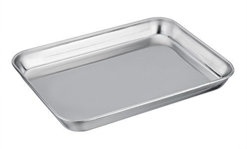 (TeamFar Pure Stainless Steel Toaster Oven Pan Tray Ovenware, 7''x9''x1'', Heavy Duty & Healthy, Mirror Finish & Easy clean, Deep Edge, Dishwasher Safe (18/0 Steel))